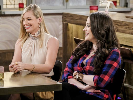 Beth Behrs and Kat Dennings in CBS's '2 Broke Girls.'