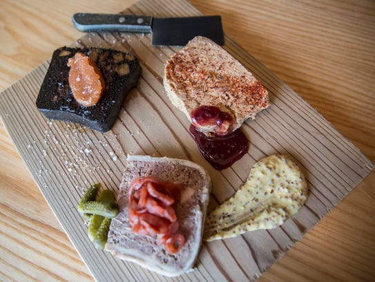 The Terrine Sampler, of three house-made terrine and