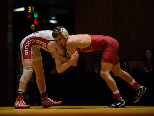 Iowa State's Kanen Storr and Rider's Tyson Dippery