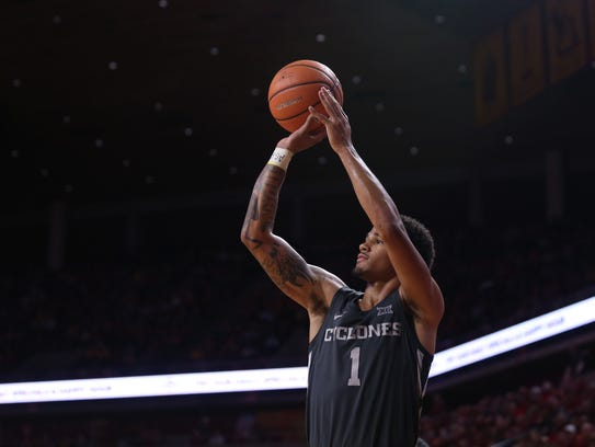 Iowa State's Nick Weiler-Babb shoots a three during