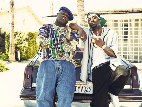 "Wavyy Jonez, left, plays Christopher ""Biggie Smalls"" Wallace and Marcc Rose plays Tupac Shakur in USA's 'Unsolved: The Murders of Tupac and The Notorious B.I.G.'"