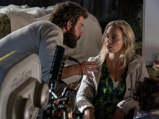 """Director, writer, executive producer and actor John Krasinski, Emily Blunt and Noah Jupe on the set of """"A Quiet Place"""" from from Paramount Pictures. This film was made in Dutchess and Ulster counties."""