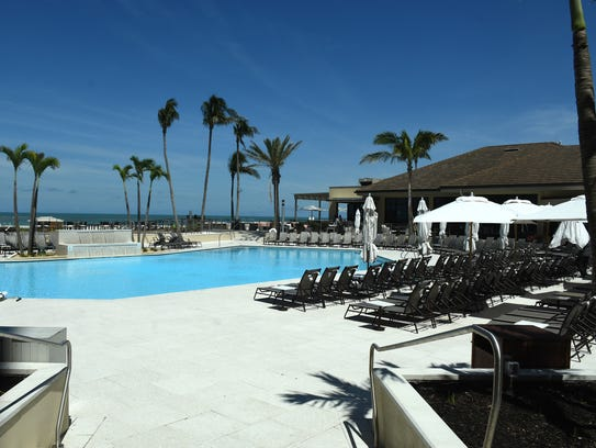 The pool deck at the hotel. The Hilton Marco Island