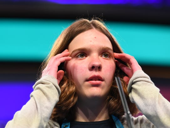 Erin Howard spelled the word quadrupedal correctly during the 2018 Scripps National Spelling Bee on May 30, 2018.
