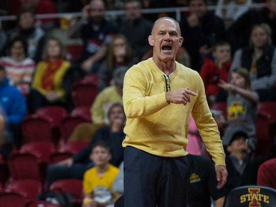 Iowa State coach Kevin Dresser calls out to one of