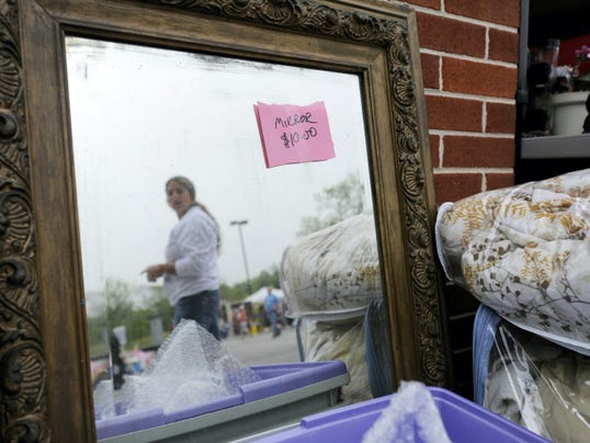 Objects like mirrors were offered up for 10 at the yard sale in the parking lot of York Haven Elementary School in Newberry Township on Saturday, May 9.