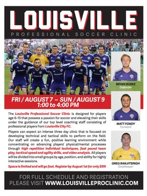 Flyer for Louisville City FC players' kids camp in August.
