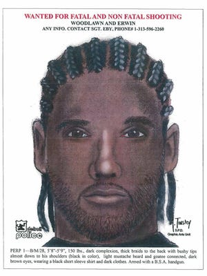 """Suspect #1 in a triple shooting on Woodlawn and Erwin - black male, 28, 5'8""""-5'9"""", 150 lbs., dark complexion, thick black braids to the back, light mustache beard and goatee connected, dark brown eyes, wearing a black short sleeve shirt and dark clothes. Head injury. Armed with a B.S.A. handgun."""