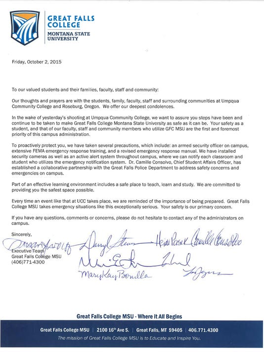 GFC-MSU safety letter