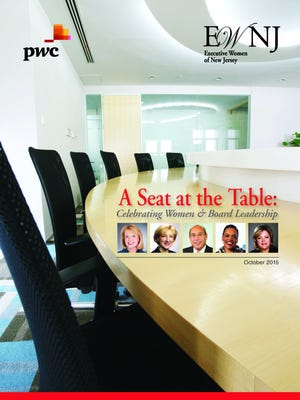 "The cover of ""A Seat at the Table,"" the exclusive 2015 report of Executive Women of New Jersey about the gender gap among the corporate executives and boards of state-based publicly traded companies."