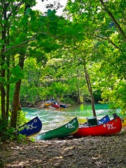 Canoes on the bank of the Buffalo National River