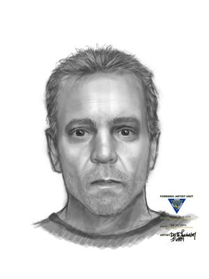 This is a sketch of a man wanted for a suspicious incident in Medford involving a young girl.