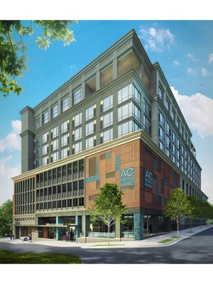 A architectural rendering shows the AC Hotel at the corner of College Street and Broadway. It is slated to open in the fall.