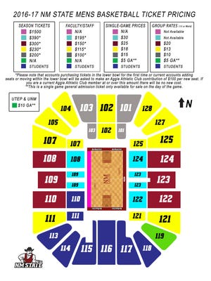 2016-17 New Mexico State men's basketball season ticket pricing map.