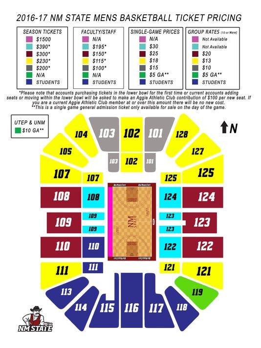 NMSU basketball tickets pricing map