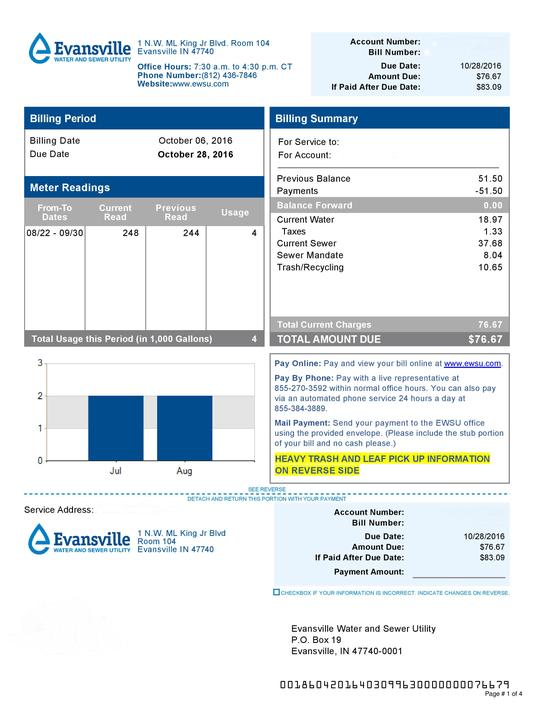 Evansville Water-Sewer Bill