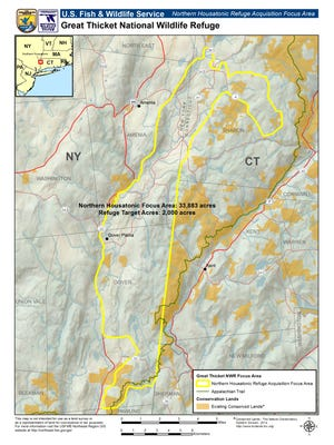 This map shows the area within eastern Dutchess County, as well as portion of northwestern Connecticut, from which the U.S. Fish & Wildlife Service is seeking to set aside 2,000 acres as shrubby habitat.