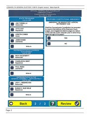 A sample ballot for the Nov. 8 election.