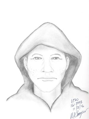 A forensic sketch artist produced this sketch of a suspect who allegedly attempted to kidnap a 14-year-old girl in Berthoud. The LCSO is seeking the public's help in locating him.