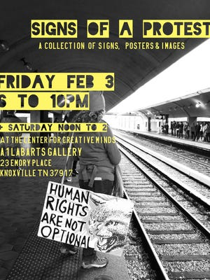 "The poster for ""Signs of a Protest"" includes a photo from the Women's March in Washington showing one of the signs ""Human Rights Are Not Optional"" that will be shown at A1LabArts' pop up show this weekend."