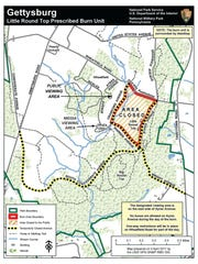 Map of Little Round Top prescribed burn, set for Monday,