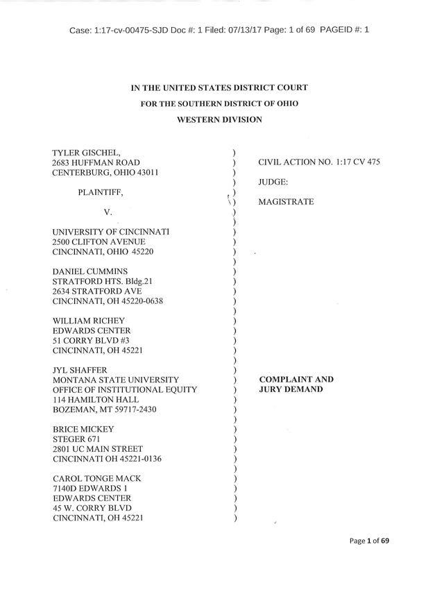 Lawsuits against University of Cincinnati over sexual assault case