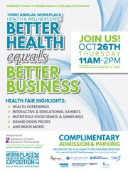 The third annual Workplace Health & Wellness Expositionwill be held from 11 a.m. to 2 p.m.Oct.26at The Imperia in the Somerset section of Franklin.