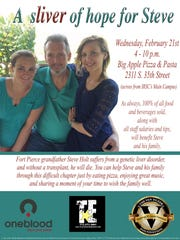 The Van Duzer Foundation will be hosting a fundraising evening Feb. 21 at Big Apple Pizza in Fort Pierce to benefit Steve Holt, who needs a liver transplant.