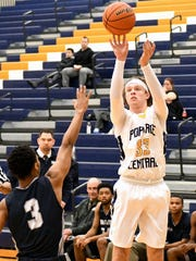 Portage Central freshman Luke Leto fires up a 3-point