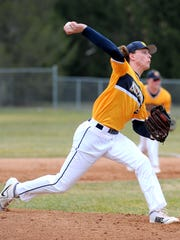 Portage Central freshman Luke Leto fires in a pitch