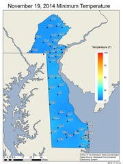 Low Temperatures throughout Delaware recorded at Delaware Environmental Observing System stations.