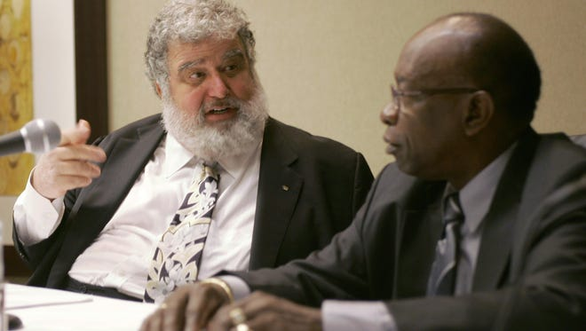 In a 2008 meeting, General Secretary Chuck Blazer, left, and President Jack Warner chat during a news conference in Miami. Former FIFA executive committee member Blazer agreed to act undercover for U.S. prosecutors and has been cooperating since at least 2011 in the government's investigation of soccer corruption. Blazer's 19-page plea agreement from Nov. 25, 2013, was unsealed Monday, June 15, 2015, after a federal judge agreed to a request by media organizations. As part of the deal, Blazer agreed he would sign over title of his FIFA pension to satisfy payments owed to the U.S. government.
