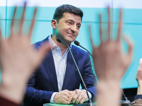 """""""I promise I will never let you down,"""" Volodymyr Zelenskiy vowed after the release of the exit polls that the sitcom star receiving an extraordinary 73.2% of the vote."""