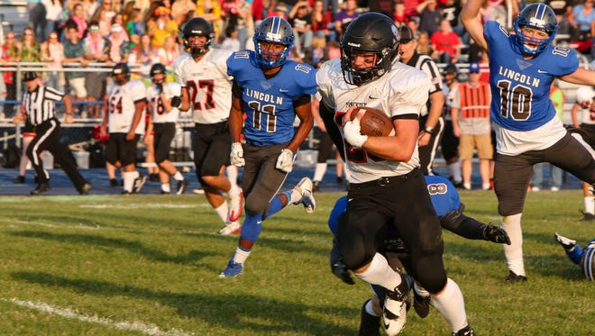 Levi Collins of Pinckney leads Livingston County with 400 rushing yards and four touchdowns.
