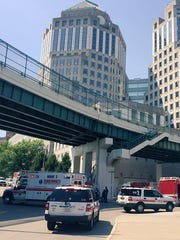 Authorities investigate the report of a suspicious package at P&G's headquarters.