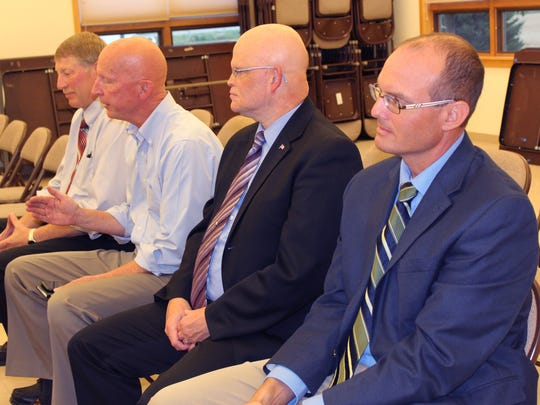 Sen. Duey Stroebel (second from left) discusses issues impacting Wisconsin farmers during a Fond du Lac Co. Farm Bureau YFA panel on Aug. 14. Joining him (from left) are Rep. Keith Ripp, Sen. Dan Feyen and Rep. Jesse Kremer. U.S. Congressman Glenn Grothman also attended the event.