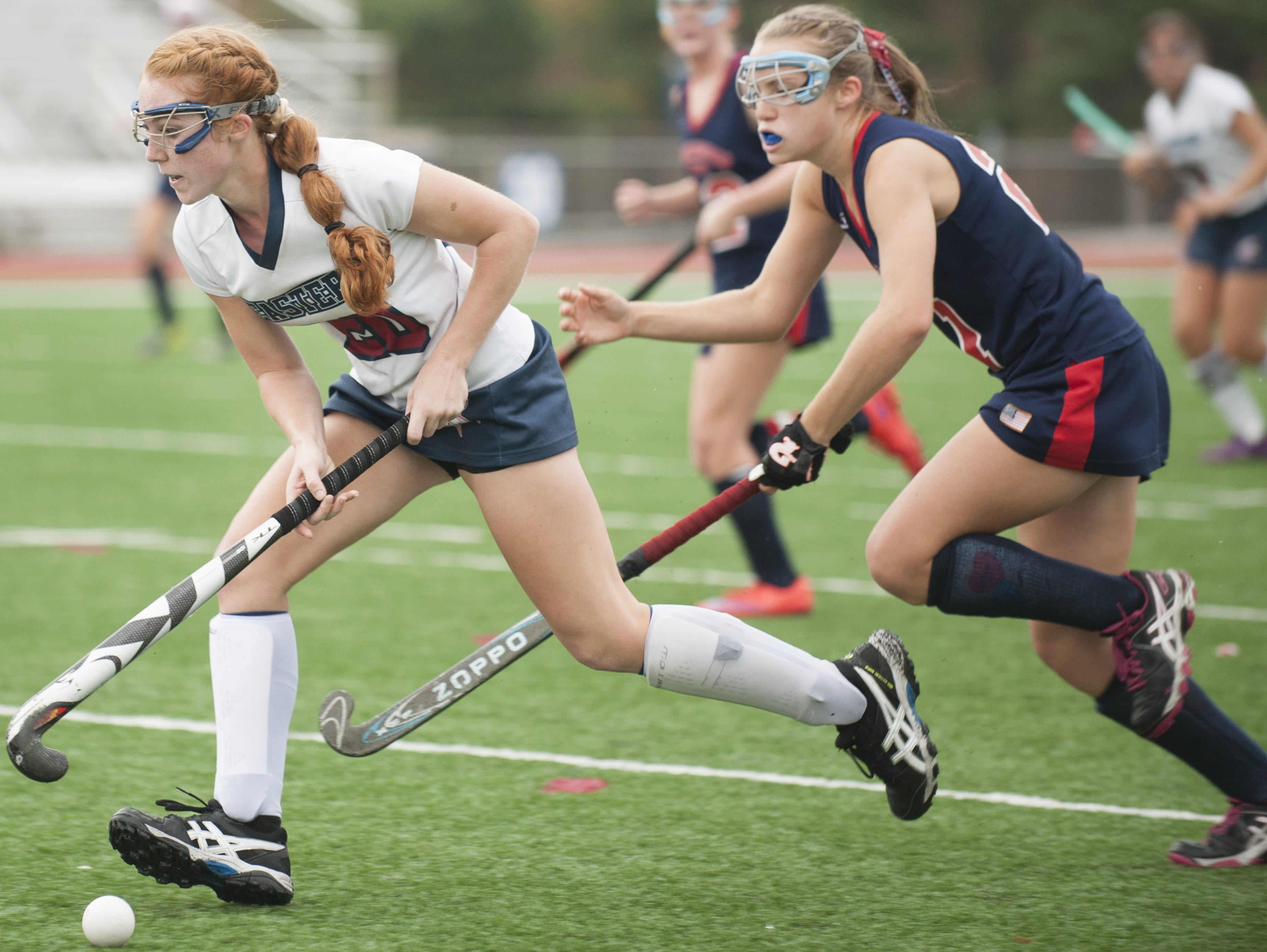 Eastern's Nicole Santore, left, controls the ball in front of Washington Township's Jess Hatch during Thursday's South Jersey Group 4 final.