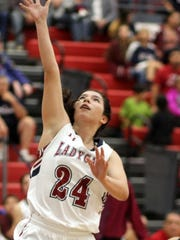 Sophomore Lady Cat Brooke Huerta (24) shot the Lady Cats out to a 10-4 advantage early in Tuesday's game with a 3-point basket. She would finish with 7 points in a 55-44 loss to the centennial Hawks.