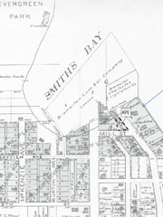 "An old plat map showing what used to be called ""Smith's Bay,"" which has been reduced to Smith Cove through industrial development."