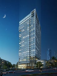 A rendering of a proposed high-rise at 45 Harrison
