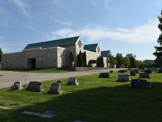 The outside of the mausoleum at New Calvary Catholic