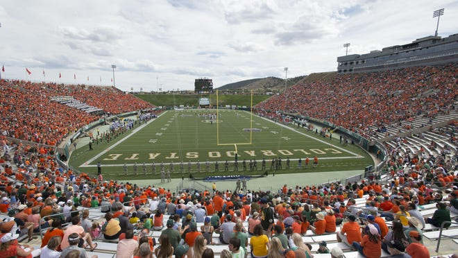 Fans watch Colorado State University take on Savannah State at Hughes Stadium on Sept. 5 in Fort Collins.