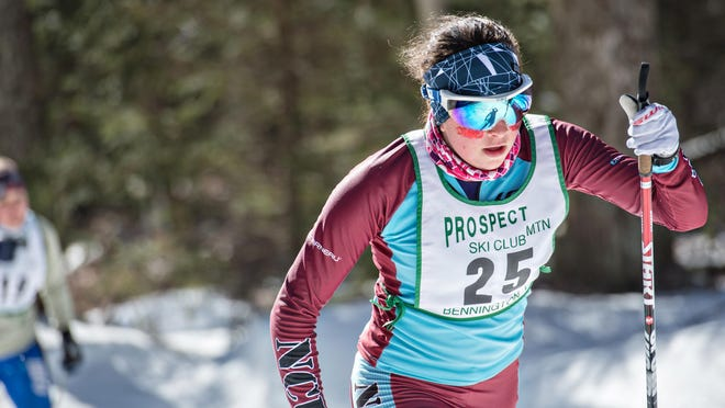North Country's Avery Ellis strides to second place for the in the D-I girls 5K sprint race during Thursday's high school nordic skiing championships in Ripton