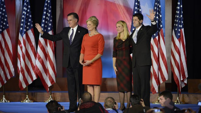 [Via MerlinFTP Drop] Mitt Romney his wife Ann and Paul Ryan and his wife Janna Ryan gather on stage after giving  a consesion speech on election night event at the Boston Convention & Exhibition Center on November 6, 2012 in Boston, Massachusetts.  ByRobert Deutsch, USA TODAY Mitt Romney greets his wife Ann and Paul Ryan and his wife Janna Ryan after giving  a consesion speech on election night event at the Boston Convention & Exhibition Center on November 6, 2012 in Boston, Massachusetts.  ByRobert Deutsch, USA TODAY