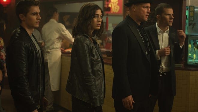 "Jack Wilder (Dave Franco, far left), Lula (Lizzy Caplan, center left), Merritt McKinney (Woody Harrelson, center right) and J. Daniel Atlas (Jesse Eisenberg, far right) in ""Now You See Me 2."""