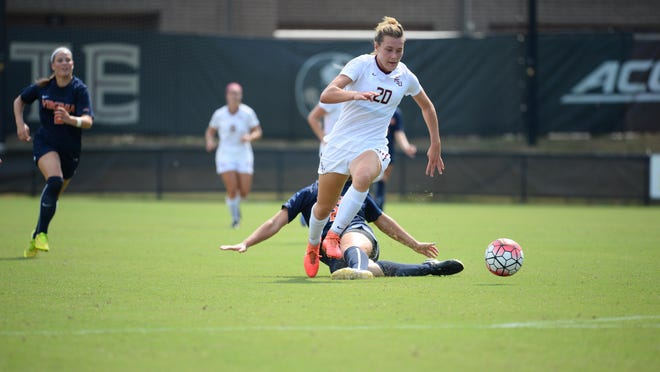 Freshman Kristen McFarland had FSU's only goal on Sunday against UVA. The game was called after 99 minutes and ended in a 1-1 draw.