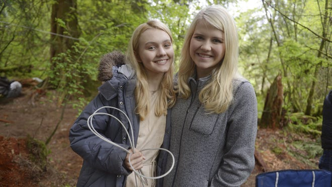 """This image released by Lifetime shows Alana Boden, left, with Elizabeth Smart on the set of """"I Am Elizabeth Smart,"""" premiering Saturday."""