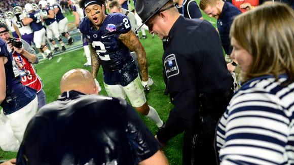 James Franklin looked so mad after getting Gatorade bath following Penn State's bowl win