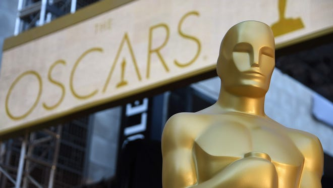 An Oscar statue at the red carpet arrivals area as preparations continue for the 88th Annual Academy Awards at Hollywood & Highland Center on Feb.25, 2016, in Hollywood, Calif.