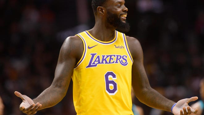 Dec 15, 2018; Charlotte, NC, USA; Los Angeles Lakers guard forward Lance Stephenson (6) reacts to a foul call during the second half against the Charlotte Hornets at the Spectrum Center. Lakers won 128-100.  Mandatory Credit: Sam Sharpe-USA TODAY Sports